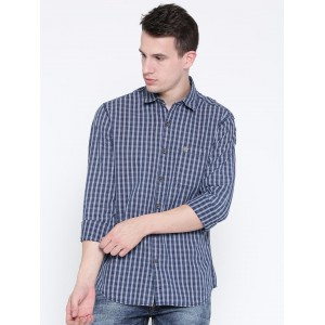 John Players Blue Trim Fit Checked Casual Shirt