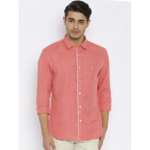 John Players Coral Red Slim Fit Checked Casual Shirt