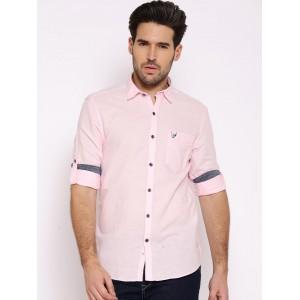 John Players Pink Linen Trim Fit Casual Shirt