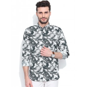 Blackberrys Grey & White Printed Trim Fit Casual Shirt