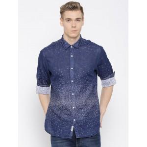 Blackberrys Navy Blue Printed Slim Fit Casual Shirt