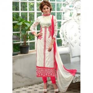 Blissta White Embroidered Dress Material