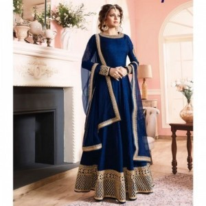 Pavitra Creation Drashti Dhami Blue Poly Silk Embroidered Anarkali Suit - AFG3