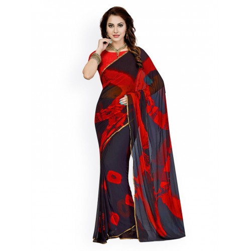Ishin Navy & Red Tie-Dyed Poly Georgette Saree