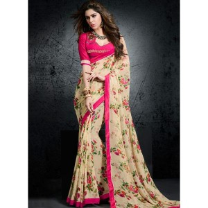 Shaily Cream & Pink Georgette Printed Saree