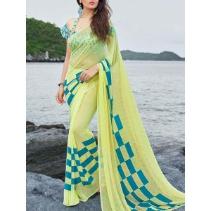 shaily yellow printed georgette saree
