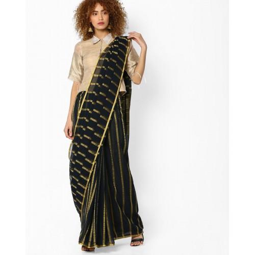 Amori Black Cotton Striped Saree with Zari Border