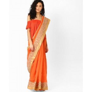 Amori Net Saree with Floral Embroidery