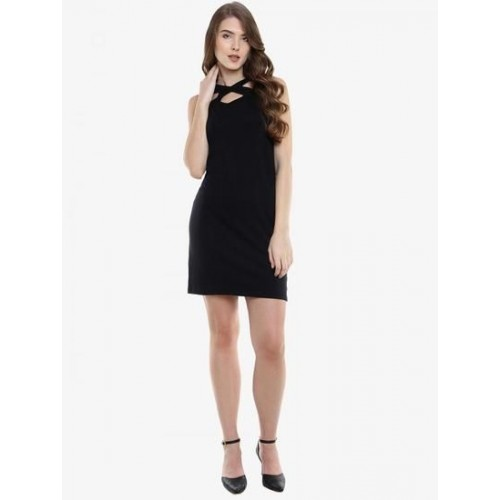 Miss Chase Black Cotton  A-line Dress