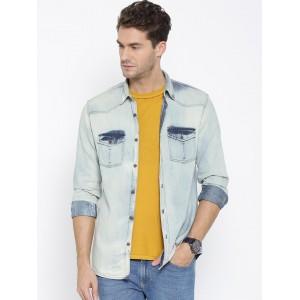 Numero Uno Light Blue Slim Fit Washed Denim Shirt