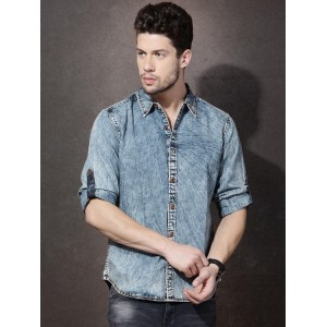 Roadster Blue Denim Faded Casual Shirt