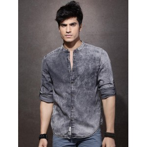 Roadster Charcoal Grey Regular Fit Washed Casual Shirt