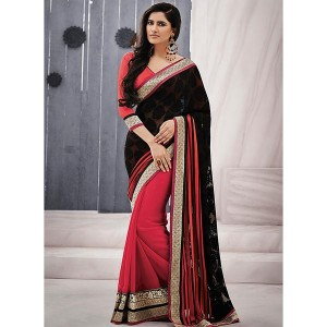 Indian Women By Bahubali Black Brasso Embroidered Sarees