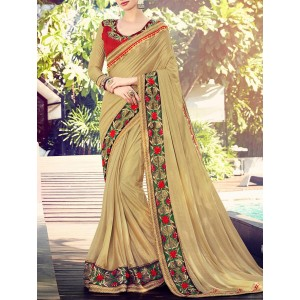 Indian Women By Bahubali beige Silk bordered saree