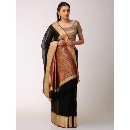 18c79298164 Buy Jaypore Black Red Cotton Silk Cotton Chanderi Saree with Zari ...