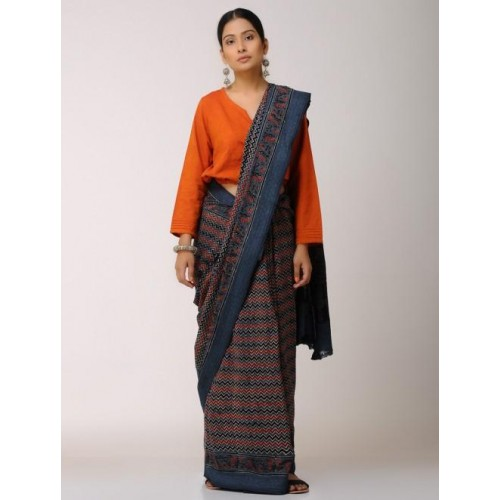 252a67a86b Buy Jaypore Blue & Red Ajrakh printed Malkha Saree online ...