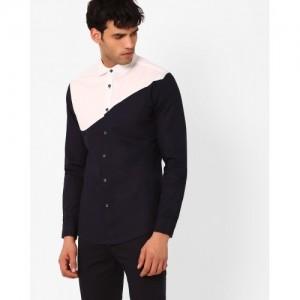 Blue Saint Regular Fit Asymmetric Print Shirt