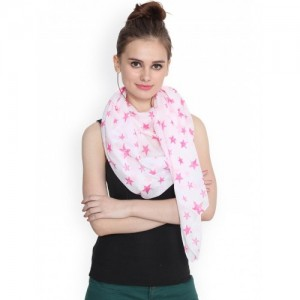 J Style White Star Printed Cotton Stole