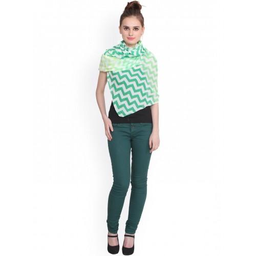 J Style Green & Yellow Chevron Print Cotton Stole
