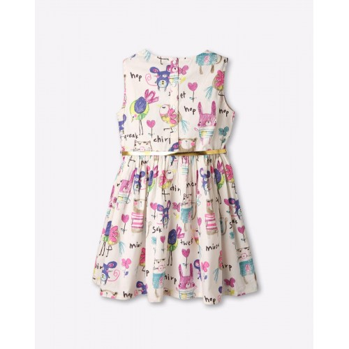 AJIO White Cotton Crayon Doodle Print Dress