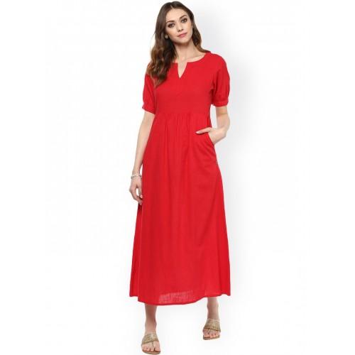 05b097ba601 Buy Jaipur Kurti Women Red Solid Maxi Dress online