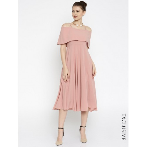 SASSAFRAS Dusty Pink Polyester Fit & Flare Midi Strap Dress