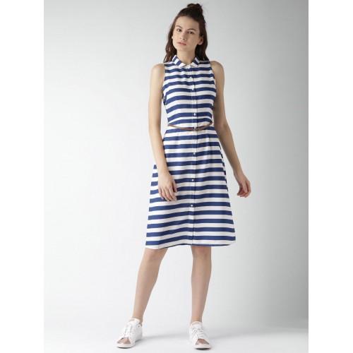29e9062cf5 Buy Mast   Harbour Navy Blue   White Striped Shirt Dress online ...