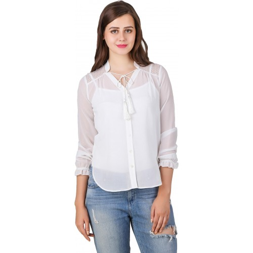 Texco Women's Solid Casual White Shirt