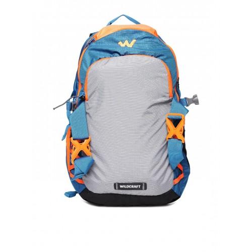 Wildcraft Unisex Grey & Blue Buckler Patterned Laptop Backpack