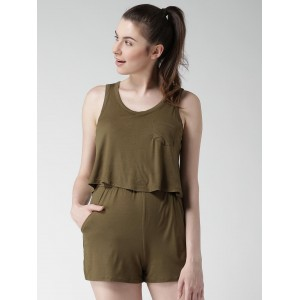 FOREVER 21 Olive Green Layered Playsuit