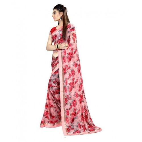 dc7ee08443 Buy Gazal Fashions Pink Chiffon Saree online | Looksgud.in