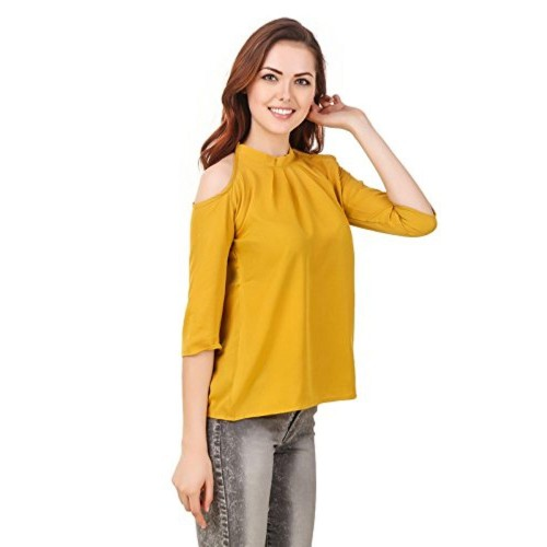 ccdbe800f88d6d ... Brand me Up Brand me Up women Solid Color Cold Shoulder neck 3 4 sleeve  ...