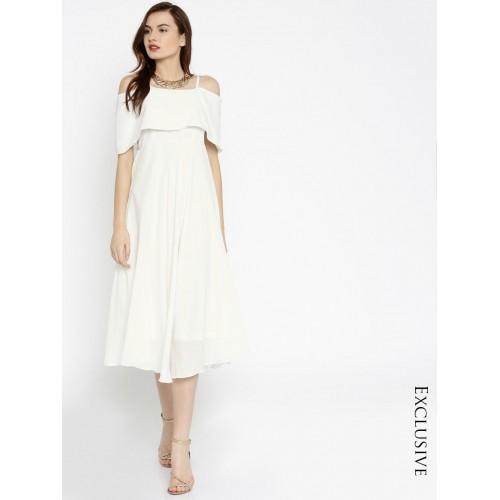 SASSAFRAS White Solid Skater Dress