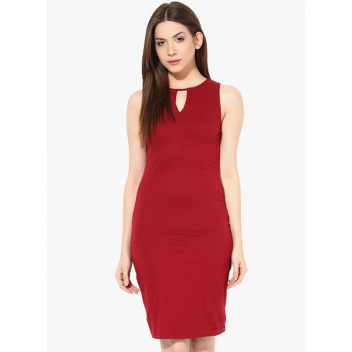 0dc027ac31 Buy Miss Chase Maroon Sleeveless Cotton Solid Bodycon Dress online ...