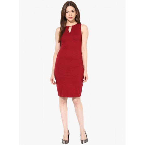 Miss Chase Women'S Maroon Round Neck SLEEVELESS Maxi Dress Plain Crepe Dresses