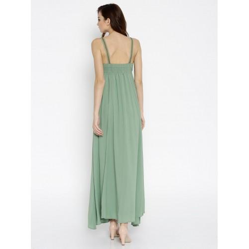 SASSAFRAS Women Green Solid Maxi Dress