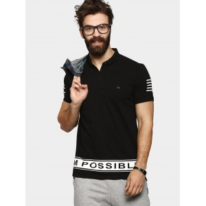 abof Men's Black Slim Fit Polo T-shirt