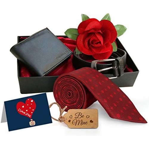 TIED RIBBONS TiedRibbons® Valentine's Day Gifts for Husband Combo Pack(Belt, Wallet, Tie,Greeting Card Rose and Wooden Tag)