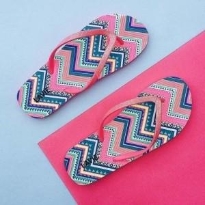 Lavie Pink Printed Women's Flip-Flops