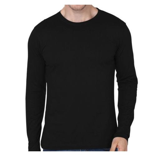 2b1e9f8a11 ... Mens Branded Black Plain Full Sleeves T-shirt   Round Neck Casual Wear  Cotton ...