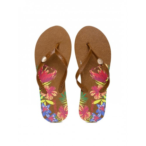 Flipside Women Brown Floral Print Flip-Flops