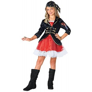Seasons Red And Black Pirate Captain Dress Up Costume