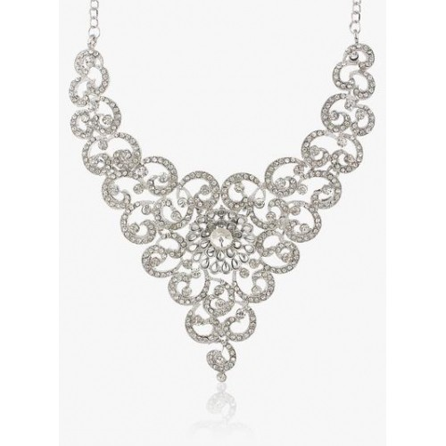 Sukkhi Glittery Rhodium Plated Necklace Set
