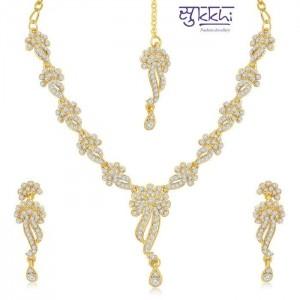 Sukkhi Gold Plated Australian Diamond Necklace Set