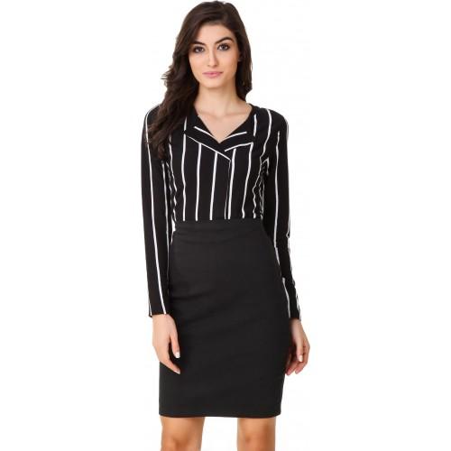 Texco Women's Striped Casual Black, White Shirt