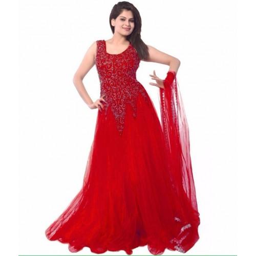 Veera Red Solid Net Anarkali Suit