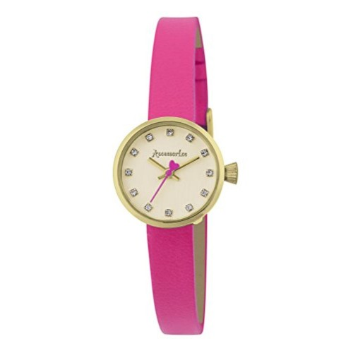 Accessorize Accessorize Women's Quartz Watch with Gold Dial Analogue Display and Pink PU Strap AZ2004