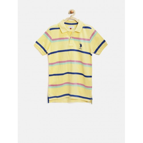 7db34811e6 Buy U.S. Polo Assn. Kids Boys Yellow Striped Polo T-shirt online ...