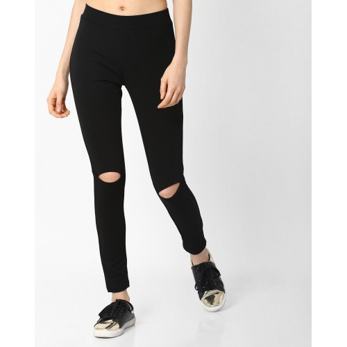 6201b9d8e8c Buy AJIO Black Solid Knitted Mid-Rise Leggings online | Looksgud.in