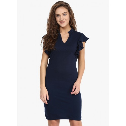 Miss Chase Navy Blue Cotton Solid Sheath Dress